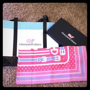 Vineyard Vines pink horse 100% silk scarf